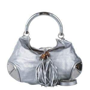 Gucci Silver Leather Bamboo Indy Hobo Bag