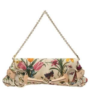 Gucci Multicolor Floral Print Canvas and Leather Horsebit Chain Clutch