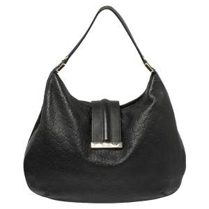 Gucci Black Guccissima Leather Large New Ladies Web Hobo