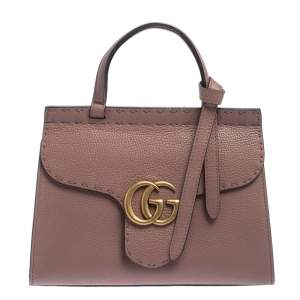 Gucci Pink Leather GG Marmont Top Handle Bag