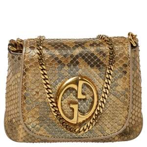 Gucci Metallic Gold Python GG Chain Shoulder Bag