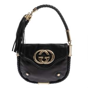 Gucci Black Leather Small Britt Tassel Hobo