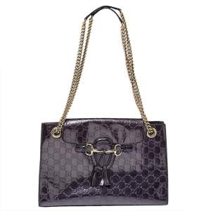 Gucci Purple Guccissima Patent Leather Large Emily Chain Shoulder Bag