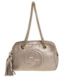 Gucci Metallic Beige Leather Medium Soho Chain Shoulder Bag