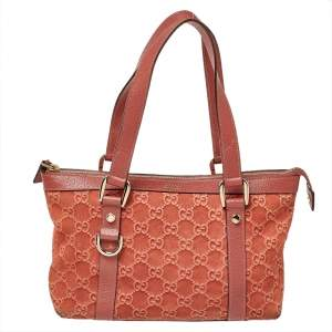 Gucci Pink Monogram Suede And Leather Small Abbey Boston