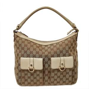 Gucci Beige GG Canvas and Leather Front Pocket Hobo