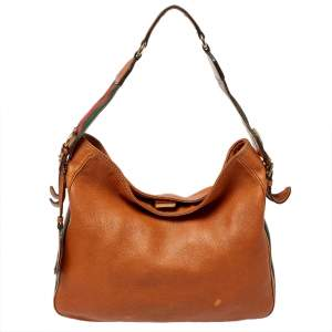 Gucci Brown Leather Medium Heritage Web Hobo