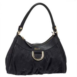 Gucci Black GG Canvas Abbey D-Ring Hobo Bag
