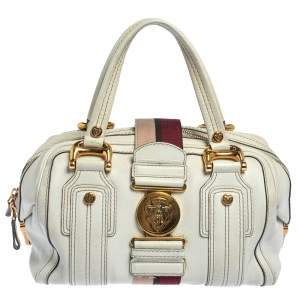 Gucci White Leather Aviatrix Medium Boston Bag