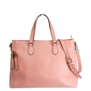 Gucci Pink Leather Bamboo Tote Bag