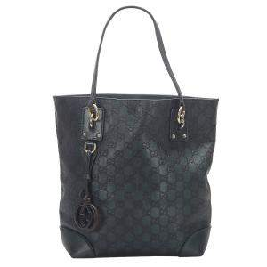 Gucci Green Guccissima Leather Charm Tote Bag