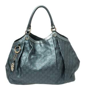 Gucci Metallic Teal Blue Guccissima Leather Large Sukey Tote