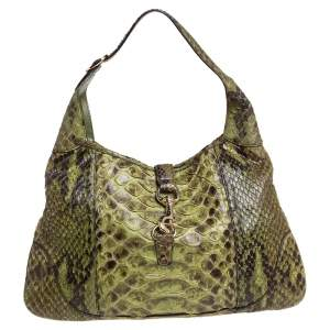 Gucci Green/Grey Python Leather Large Jackie O' Bouvier Hobo
