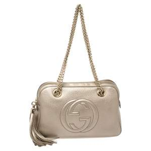 Gucci Metallic Beige Leather Small Soho Chain Shoulder Bag