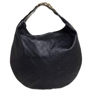 Gucci Black Guccissima Leather Horsebit Hobo