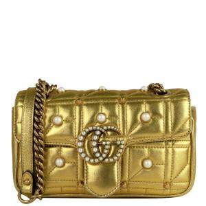 Gucci Gold Matelasse Leather Imitation Pearl GG Marmont Crossbody Bag