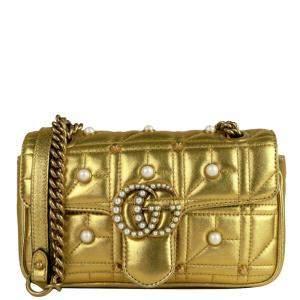 Gucci Gold Matelasse Leather Imitation Pearl GG Marmont Crossbody Bag