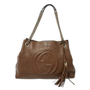 Gucci Brown Leather Medium Soho Chain Tote