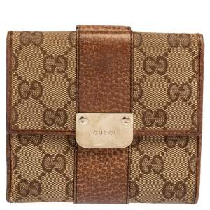 Gucci Beige GG Canvas and Leather French Flap Wallet