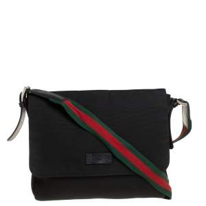 Gucci Black Techno Canvas Web Flap Messenger Bag