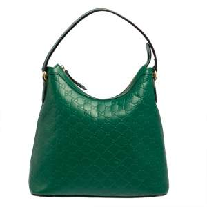 Gucci Green Guccissima Leather Top Zip Hobo