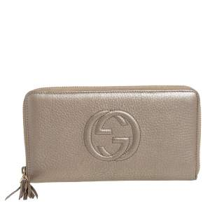 Gucci Metallic Beige Leather Soho Zip Around Organizer Wallet