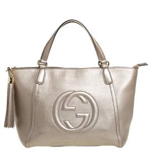 Gucci Metallic Beige Pebbled Leather Soho Working Tote