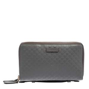 Gucci Grey Microguccissima Leather Double Zip Organizer Clutch