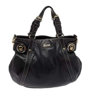 Gucci Black Leather Crest Boule Hobo