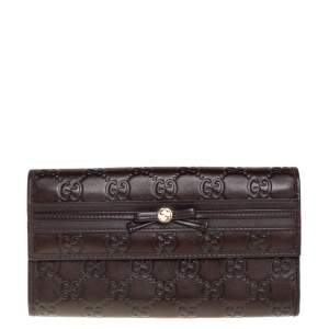 Gucci Dark Brown Guccissima Leather Mayfair Bow Continental Flap Wallet