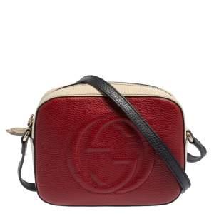 Gucci Beige/Burgundy Leather Soho Camera Crossbody Bag