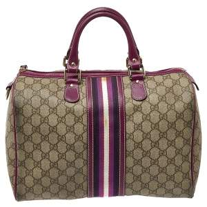 Gucci Beige/Purple GG Coated Canvas Medium Joy Web Boston Bag