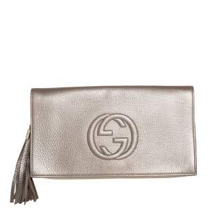 Gucci Gold Pebbled Leather Soho Clutch