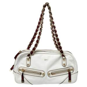 Gucci White Leather Capri Chain Zip Shoulder Bag