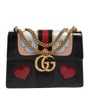 Gucci Black Leather Medium GG Marmont Heart Shoulder Bag