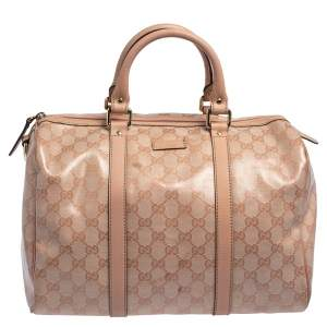 Gucci Blush Pink GG Crystal Coated Canvas Medium Joy Boston Bag