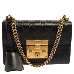 Gucci Black Guccissima Leather Small Padlock Shoulder Bag