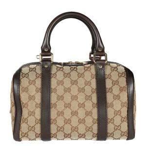 Gucci Brown GG Canvas & Leather Joy Boston Bag