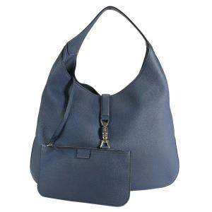 Gucci Blue Leather Soft Jackie Hobo Bag