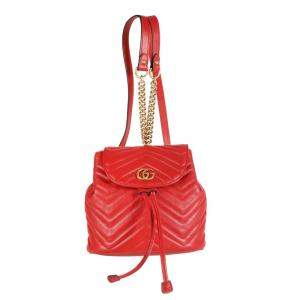 Gucci Red Matelasse Leather GG Marmont Mini Backpack