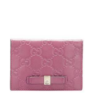 Gucci Pink Guccissima Leather Bow Card Holder