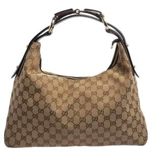 Gucci Beige/Ebony GG Canvas and Leather Medium Horsebit Hobo