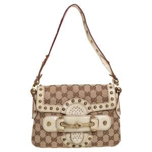 Gucci Beige/Cream GG Canvas Studded Pelham Runway Flap Bag