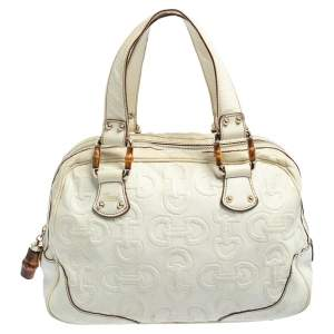 Gucci Cream Horsebit Embossed Leather Satchel Bag