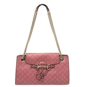 Gucci Pink Guccissima Leather Large Emily Chain Shoulder Bag