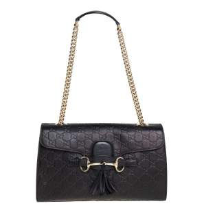 Gucci Black Guccissima Leather Medium Emily Shoulder Bag