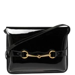 Gucci Black Patent Leather Large Bright Bit Shoulder Bag