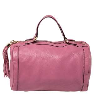 Gucci Pink Pebbled Leather Soho Boston Bag