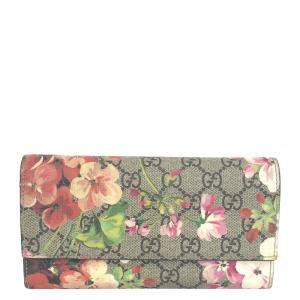 Gucci Beige/Brown GG Canvas Blooms Wallet