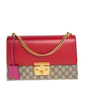 Gucci Tri Color GG Supreme Canvas and Leather Medium Padlock Shoulder Bag